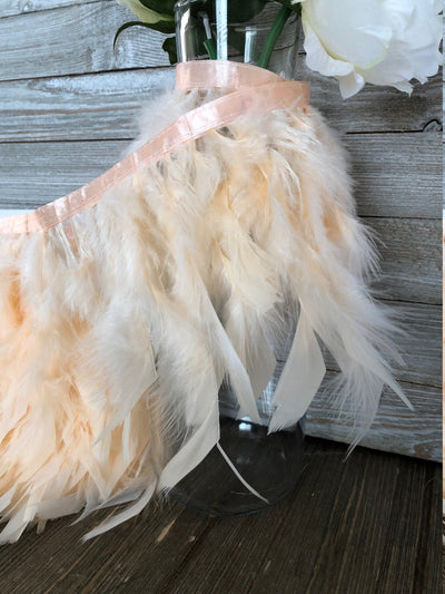 Peach Rooster Hackle Feather Fringe Trim DIY Feather Chandelier, DIY feather lampshade, feather dream catcher, gatsby