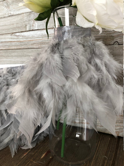Silver Rooster Hackle Feather Fringe Trim DIY Feather Chandelier, DIY feather lampshade, feather dream catcher, gatsby