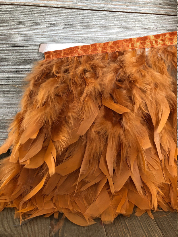 Rust Orange Rooster Hackle Feather Fringe Trim DIY Feather Chandelier, DIY feather lampshade, feather dream catcher, gatsby