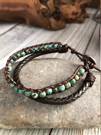 Jasper Beaded Leather Bracelets, Boho leather wrap bracelet, Good Luck bracelet, Mandala bracelet, Meditation bracelet