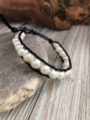 Fresh Water Pearl Leather Bracelet,  Healing property crystals, Boho bracelet, Good Luck bracelet, Mandala bracelet, Meditation bracelet