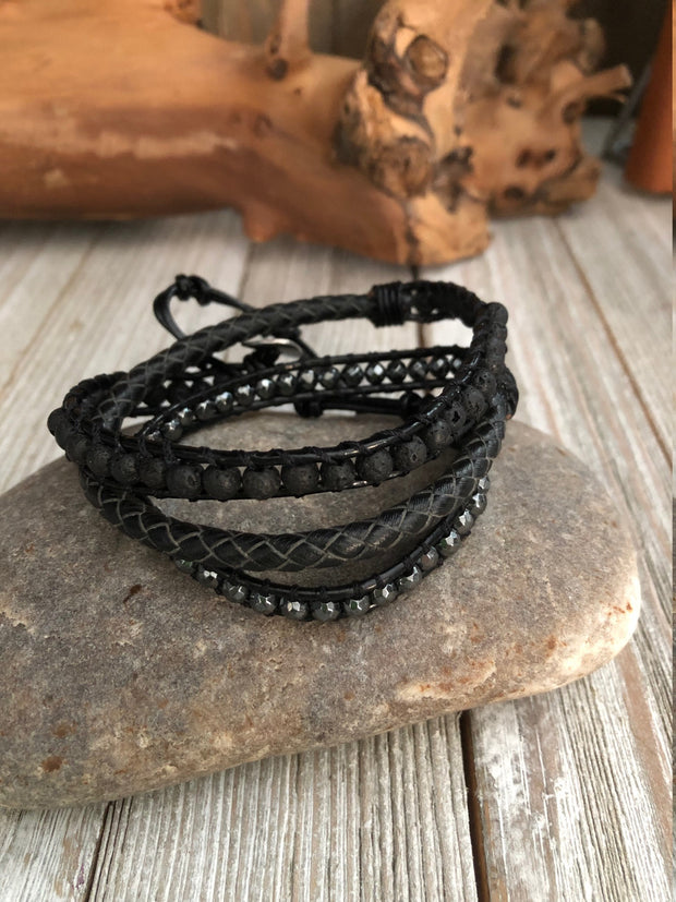 Lavastone Hematite Leather Bracelet, Three wrap Boho leather bracelet, Good Luck bracelet, Mandala bracelet, Meditation bracelet