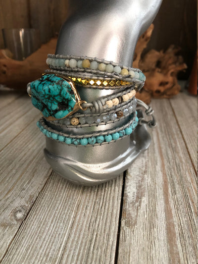 Turquoise precious stones 5 wrap leather Bracelet, Boho wrap leather bracelet, Good Luck bracelet, Mandala bracelet, Meditation bracelet