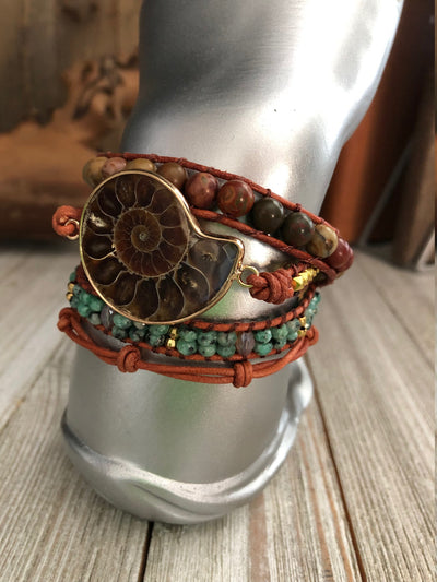 Ammonite Fossil And Mix Stones 3 wrap leather Bracelet, Boho wrap leather bracelet, Good Luck bracelet, Bohemian Bracelet