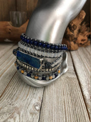 Lapis Lazuli and Mix Stones 5 wrap leather Bracelet, Boho wrap leather bracelet, Good Luck bracelet, Bohemian Bracelet