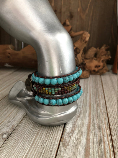 Turquoise and Jasper seed bead 3 wrap leather Bracelet, Boho wrap leather bracelet, Good Luck bracelet, Bohemian Bracelet