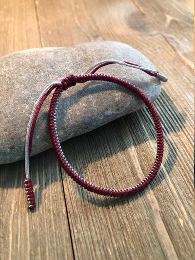 Lucky Knot Bracelets, Tibetan Buddhist Lucky Knots Bracelet Dark Red/Silver For Leadership, Protection, Encourage