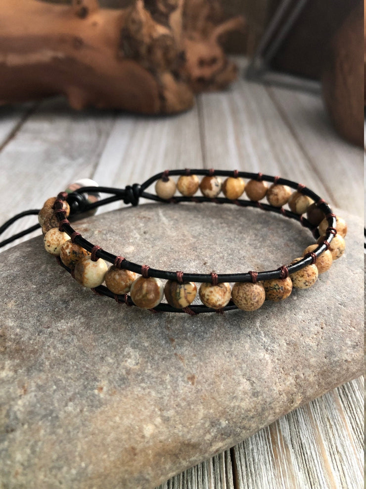 Chakra Brown Jasper Beaded Bracelet, One wrap Leather Crystal Healing Jewelery, Mandala bracelet, Meditation charm, Chakra Bracelet