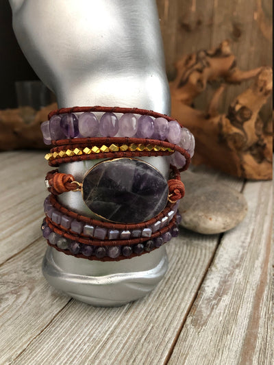 Amethyst semi precious stones 5 wrap leather Bracelet, Boho wrap leather bracelet, Good Luck bracelet, Bohemian Bracelet