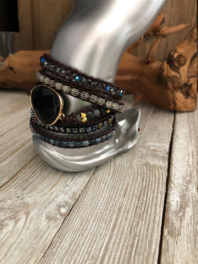 Obsidian And Mix Stones 5 wrap leather Bracelet, Boho wrap leather bracelet, Good Luck bracelet, Bohemian Bracelet