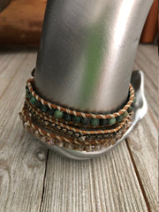 African turquoise semi precious stones 3 wrap leather Bracelet, Boho wrap leather bracelet, Good Luck bracelet, Bohemian Bracelet
