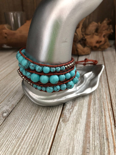Turquoise semi precious stones 3 wrap leather Bracelet, Boho wrap leather bracelet, Good Luck bracelet, Bohemian Bracelet