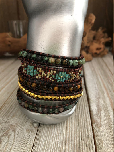 Agate semi precious stones and seed bead 5 wrap leather Bracelet, Boho wrap leather bracelet, Yoga meditation bracelet, Bohemian Bracelet