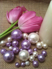 Floating Pearl Vase Filler Jumbo Pearls Ivory/Lilac-Lavendar For Wedding Centerpiece, Table Top Decor, Scatters