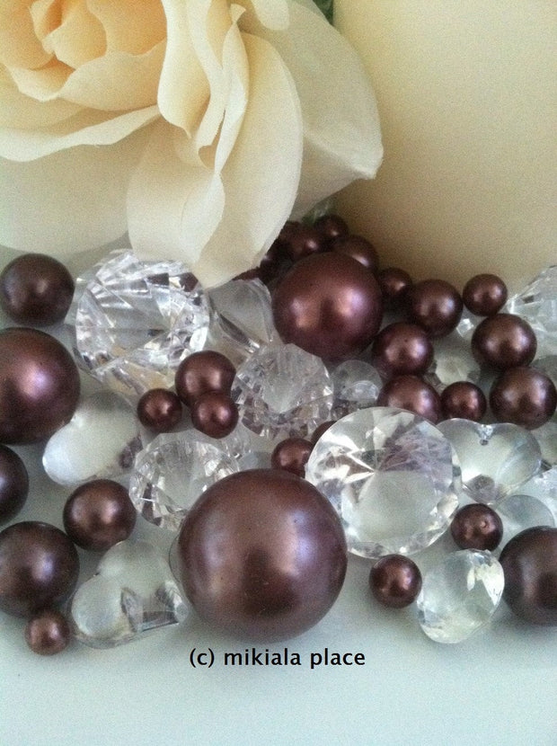 80pcs Chocolate Brown Jumbo pearls and diamonds, ice nuggets, hearts in mix sizes for confetti, vase fillers and candle plate decors