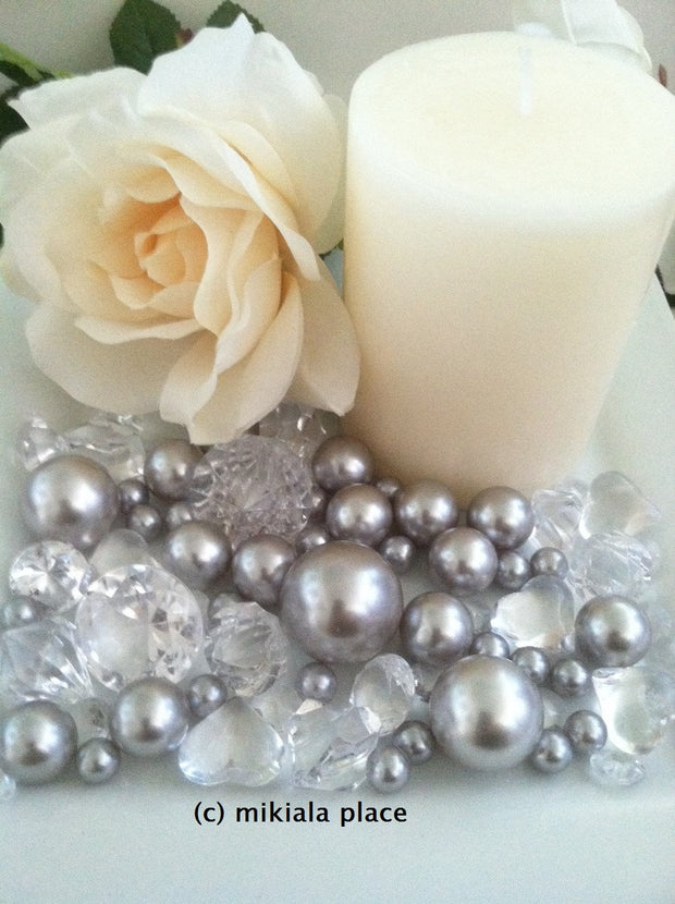 80pcs Silver Jumbo pearls and diamonds, ice nuggets, hearts in mix sizes for confetti, vase fillers and candle plate decors