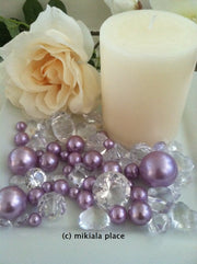 80pcs Lilac-Lavendar Jumbo pearls and diamonds, ice nuggets, hearts in mix sizes for confetti, vase fillers and candle plate decors