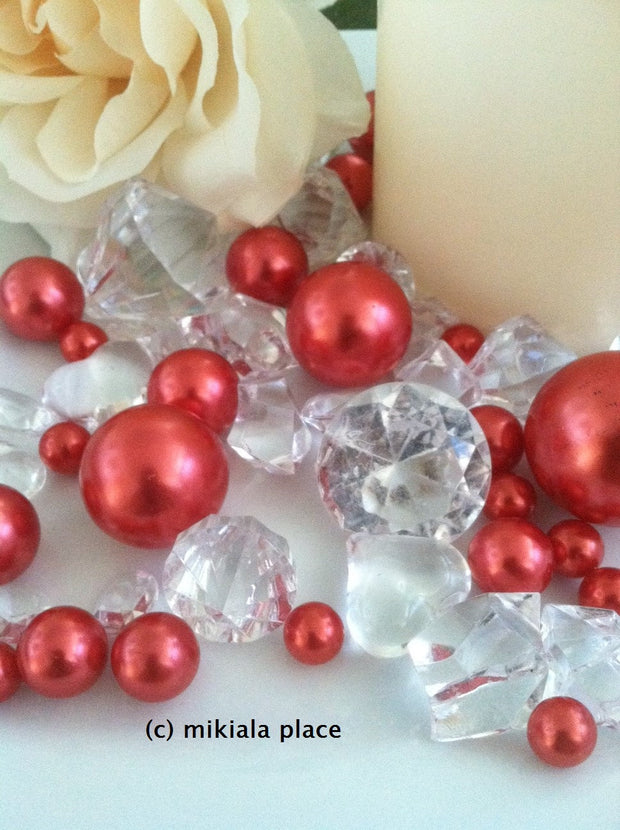 80pcs Red Jumbo pearls and diamonds, ice nuggets, hearts in mix sizes for confetti, vase fillers and candle plate decors