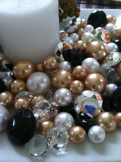 Christmas Holiday Vase Fillers Pearls Diamonds Pearls (Black, Gold, Silver, White)