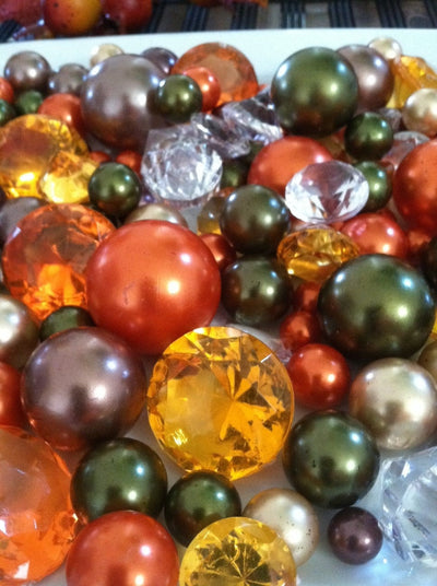 Fall Autumn Decor Vase Filler Pearls, Fall Wedding Table Pearls Confetti