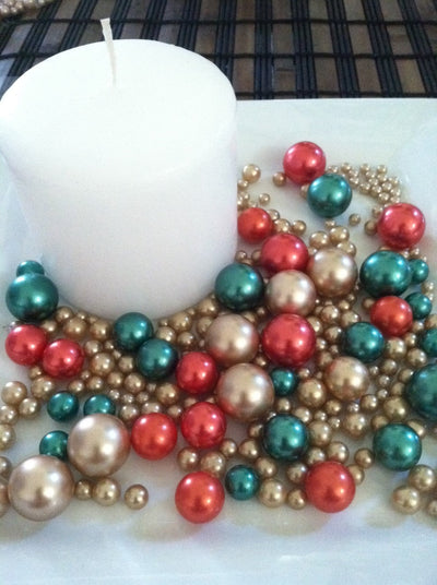 Holiday Christmas Candleplate Decor/centerpieces/table scatter (green, red, gold) 375pc mix