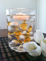 DIY 50pc Floating Jumbo Diamond & Jumbo Pearl Vase Fillers Assorted Size Gold Diamond, Ivory Pearl Mixes
