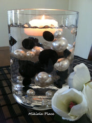 DIY 50pc Floating Jumbo Diamond & Jumbo Pearl Vase Fillers Assorted Size Black Diamond, White Pearl Mixes