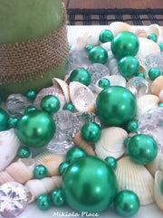 Diamonds, Kelly Green Pearls & Shell Gem Mix For Candlescape Decor,  Wedding Centerpieces, Vase Fillers