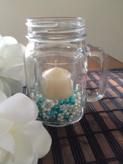 500pcs Turquoise Green/Ivory Pearls & Diamond Used For Votive Candle, Mason Jar Fillers, Table Scatters