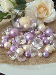 Jumbo Diamonds And Pearl Beads Vase Filler Scatter/Centerpiece, Ivory/Lilac/Clear Diamond Mix 115pc