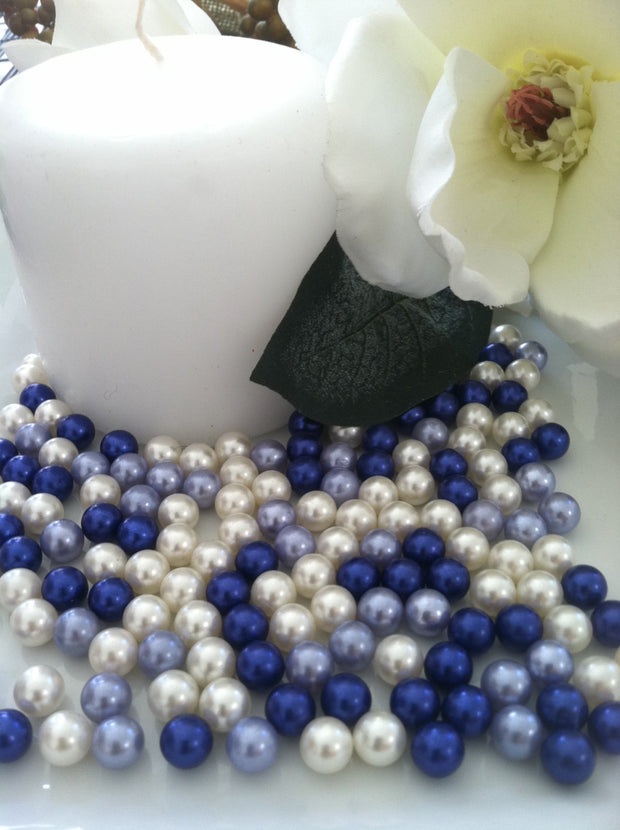 Royal Blue Pearls 300pcs 8mm No Hole Pearls For Candle Glass Fillers/Wine Glass Fillers, Table Scatters