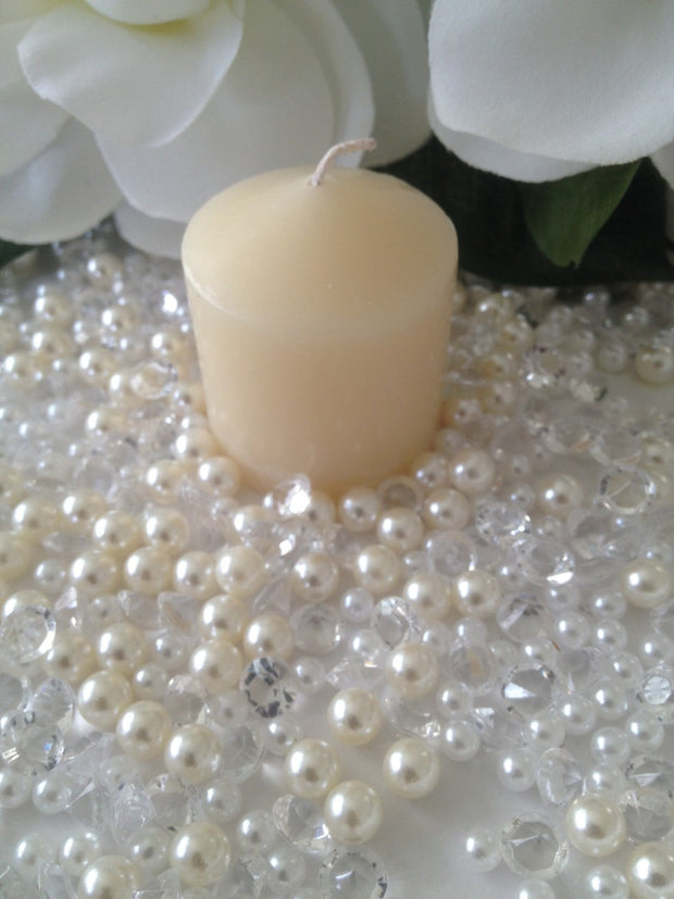 Votive Candle/Wine Glass Fillers Pearls & Diamond Mixes Ivory/White, Clear Diamonds, Perfect for table scatters, small vase filler