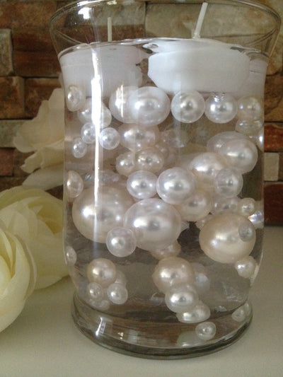 Vase Filler Pearls For Floating Pearl Centerpiece, Ivory/White Pearls 80 Jumbo & Mix Size Pearls, No Hole Pearls
