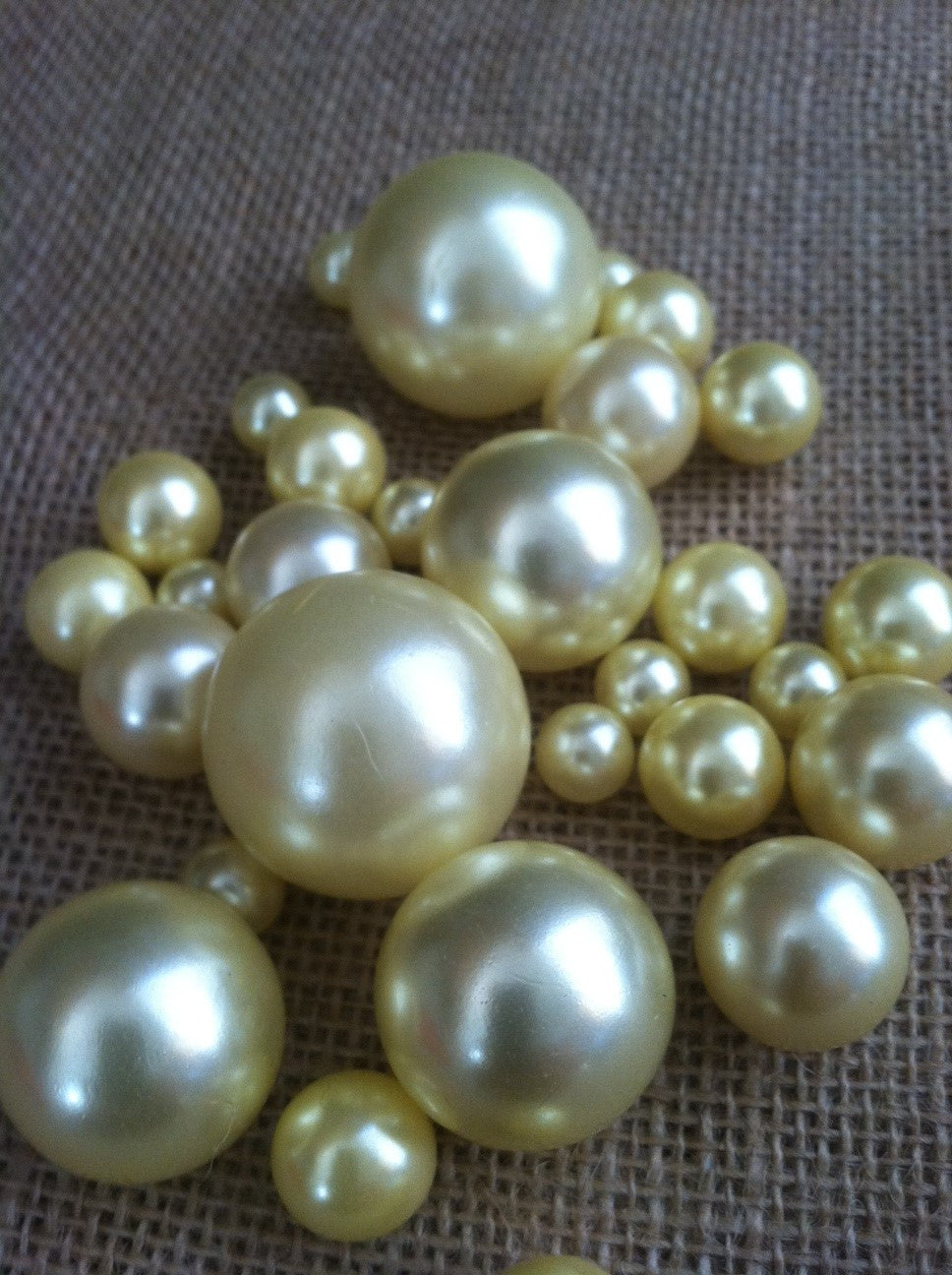 Light Yellow Pearls For Floating Pearl Centerpieces, Jumbo Pearls Vase Fillers, Scatters, Confetti