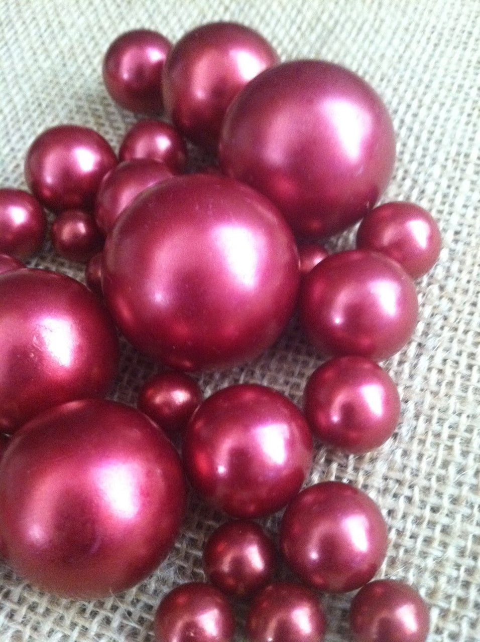 Cranberry Red Pearls For Floating Pearl Centerpieces, Jumbo Pearls Vase Fillers, Scatters, Confetti