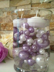 Vase Filler Pearls For Floating Pearl Centerpiece, Lavendar/White Pearls 80 Jumbo & Mix Size Pearls, No Hole Pearls