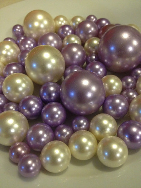 Lavendar And Ivory Pearls, Vase Filler Pearls, DIY Floating Pearl Centerpiece, Table Scatters And Confetti, Jumbo Mix Size Pearls