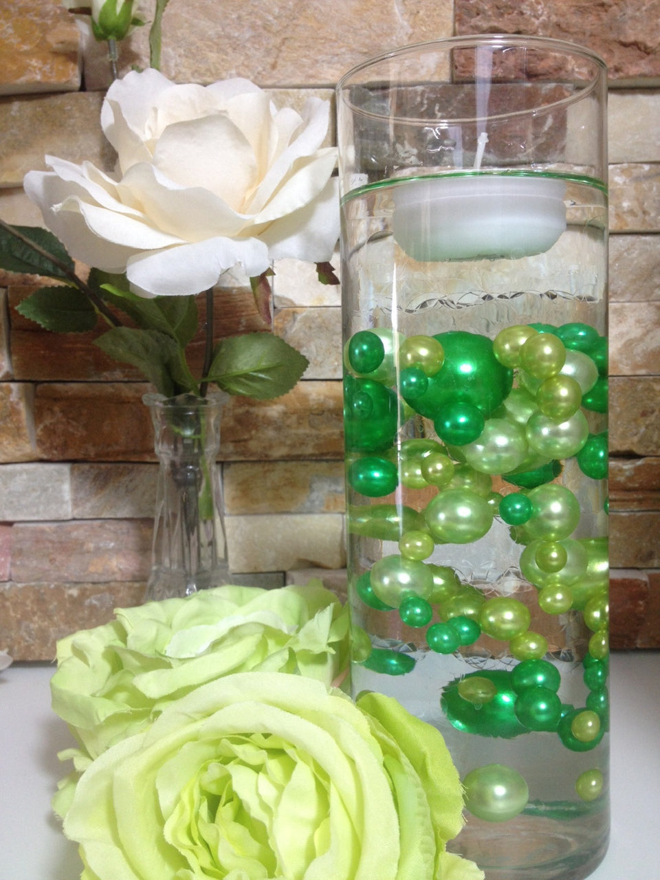 DIY Floating Pearl Centerpiece Vase Filler Lime/Green Pearls 80 Jumbo & Mix Size Pearls, No Hole Pearls