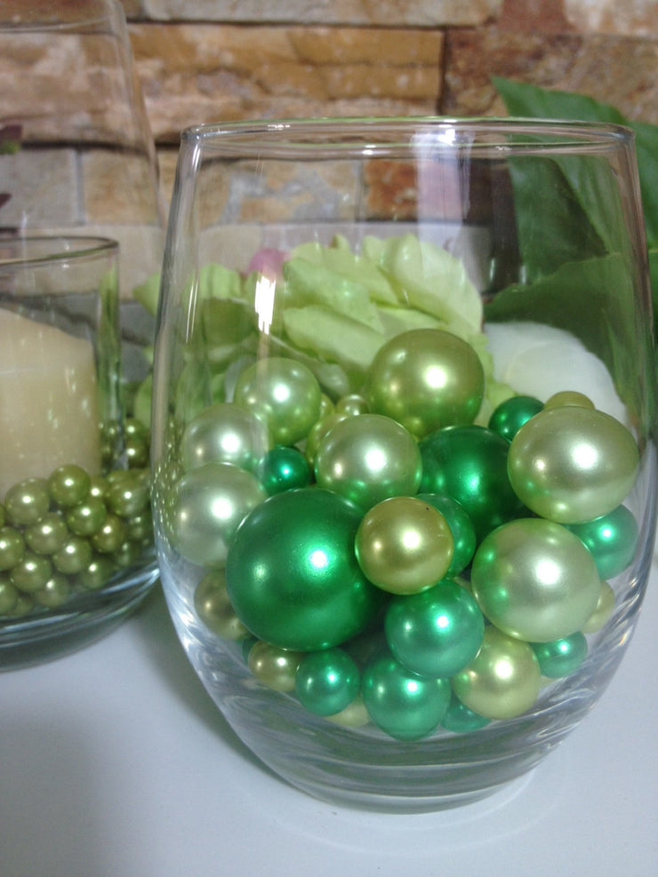 Lime Green And Green Pearls, Vase Filler Pearls, DIY Floating Pearl Centerpiece, Table Scatters And Confetti, Jumbo Mix Size Pearls