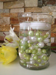 Vase Filler Pearls For Floating Pearl Centerpiece, Lime Green/White Pearls 80 Jumbo & Mix Size Pearls, No Hole Pearls
