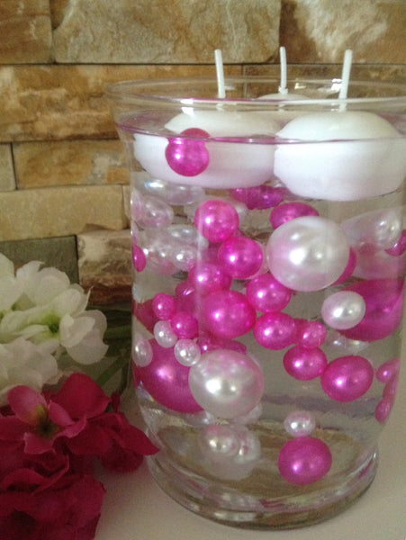 80 Magenta Pink/White Pearls, Jumbo & Mix Size Pearls, No Hole Pearls For Vase Fillers, Crafts, DIY Floating Pearls