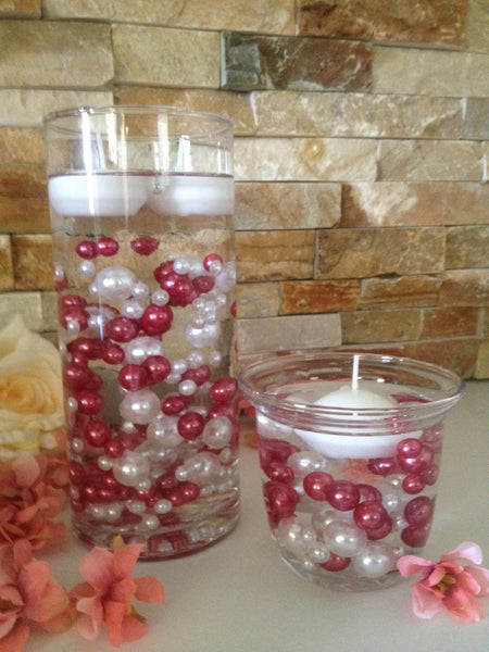 120pc Mauve Pink/White Pearls, Mix Size Pearls, No Hole Pearls For Vase Fillers, Crafts, DIY Floating Pearls