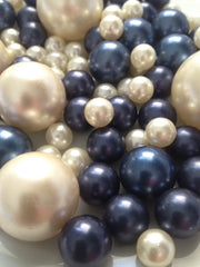 Navy Blue And Ivory Pearls, Decorative Jumbo No Hole Pearls, Vase Fillers Table Scatters, Floating Pearl Centerpiece