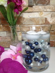 DIY Floating Pearl Centerpiece Vase Filler Pearls Navy Blue/White Pearls 90 Mix Size Pearls, No Hole Pearls