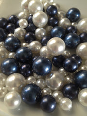 Navy Blue And White Pearls 90pc, Vase & Bowl Fillers Table Decors, No Hole Pearls, DIY Floating Pearl