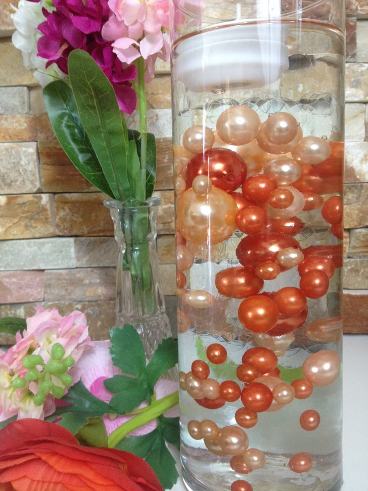 Peach And Coral Orange Vase Filler Pearls, DIY Floating Pearl Centerpiece, Table Scatters And Confetti, Jumbo Mix Size Pearls