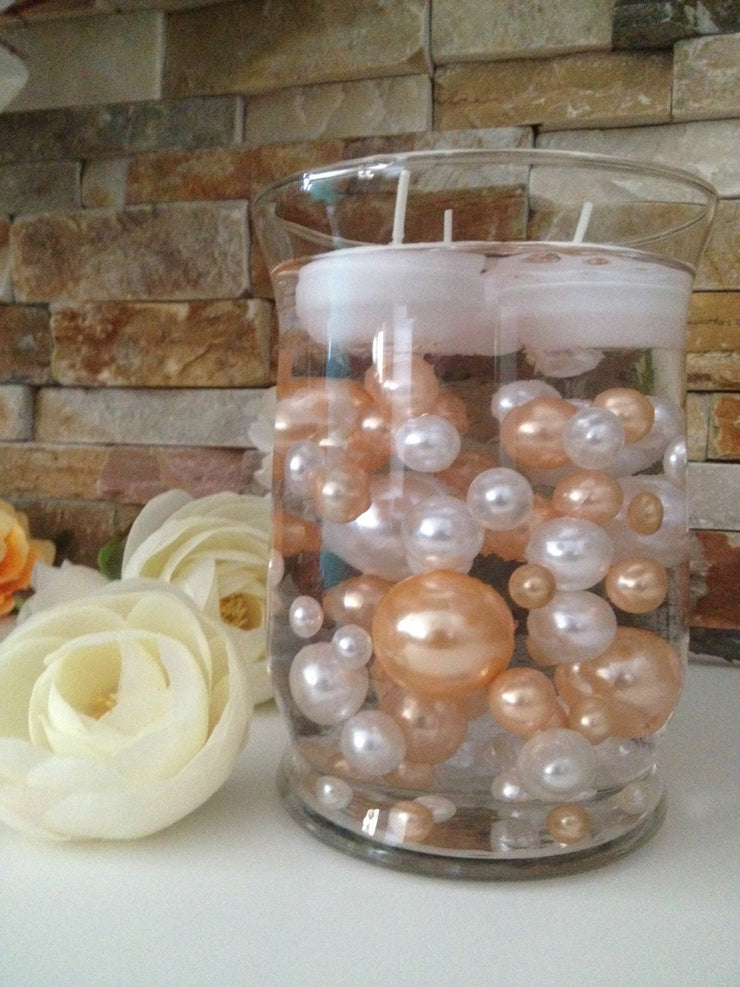 DIY Floating Pearl Centerpiece Vase Filler Pearls Peach/White Pearls 80 Jumbo & Mix Size Pearls