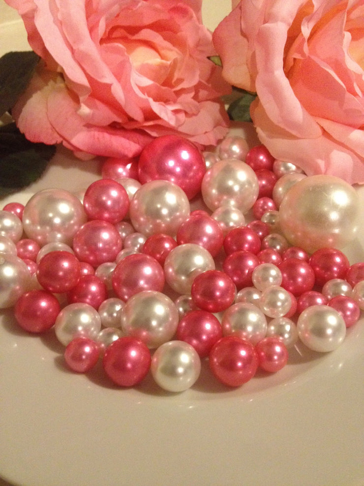 Vase Filler Pearls Pink And White, DIY Floating Pearl Centerpiece, Table Scatters And Confetti, Jumbo Mix Size Pearls