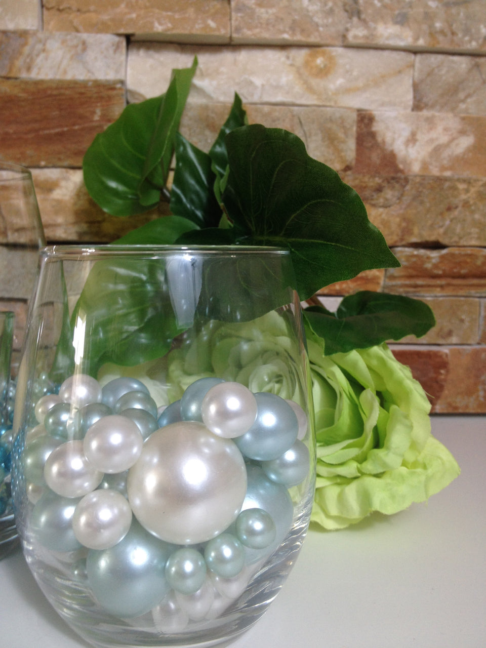 Baby Light Blue And White Pearls, Vase Filler Pearls, DIY Floating Pearl Centerpiece, Table Scatters And Confetti, Jumbo Mix Size Pearls