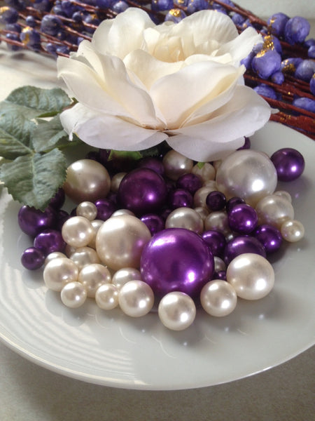 Purple And Ivory Pearls, Vase Filler Pearls, DIY Floating Pearl Centerpiece, Table Scatters And Confetti, Jumbo Mix Size Pearls